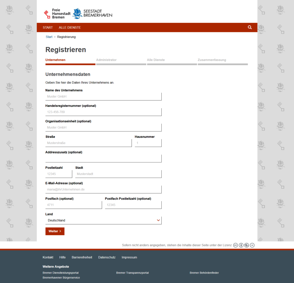 Registrierung Onlineportal Bremen